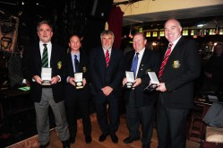 Norman Lynch, Kevin Campbell (Referee), Noel Fitzroy (Fixtures Secretary), JJ Walsh and Karl Nolan receive their Premier UCFL Challenge Cup memontoes at the UCFL Referees Social night at the Dublin conservative Club.
