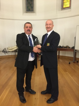 Danny Lambe receiving an award from Dave Fitzsimons for his appointment as observer on the Women's Senior Cup Final 2015 at the Aviva Stadium.